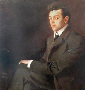 Alois Ruber: Portrait Aloys Georg Fleischmann (Ausschnitt), Öl auf Leinwand, 1904 (Privatbesitz) – z. Zt. als Dauerleihgabe im Bezirksmuseum Dachau. Foto: Günter Stangl © Bezirksmuseum Dachau