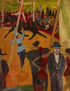Paula Wimmer 1876 – 1971, Zirkusarena, um 1910, Öl auf Malpappe, Gemäldegalerie Dachau, Museumsverein Dachau
