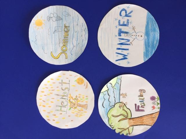 Plakat mit Kinderzeichnungen Herbst, Sommer, Frühling, Winter